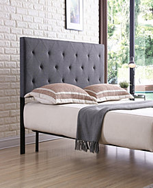 King-Size Upholstered Tufted Rectangular Headboard in Grey