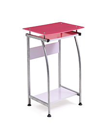 Tempered Glass Top Laptop Desk with Pull-out Keyboard Tray in Pink