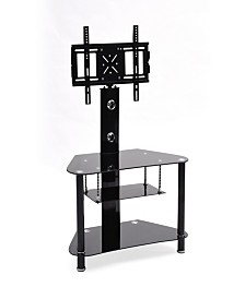 "35.4"" Wide Glass TV Stand with Swiveling Mount"