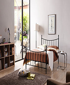 Complete Metal Twin-Size Bed with Headboard, Footboard, Slats and Rails in Black