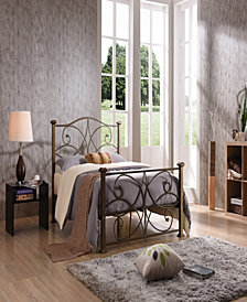Complete Metal Full-Size Bed with Headboard, Footboard, Slats and Rails in Gold