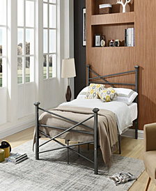 Complete Metal Full-Size Bed with Headboard, Footboard, Slats and Rails in Charcoal