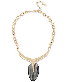 "Robert Lee Morris Soho Gold-Tone Oval Stone Sculptural Pendant Necklace, 18"" + 3"" extender"