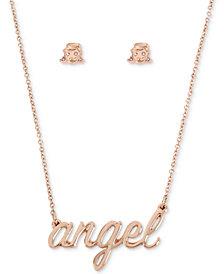 "Betsey Johnson Rose Gold-Tone Pavé Angel Pendant Necklace & Stud Earrings Set, 16"" + 3"" extender"
