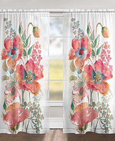 "Bohemian Poppies 84"" Sheer Window Panel"