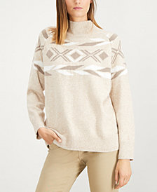Calvin Klein Placed-Pattern Mock-Neck Sweater
