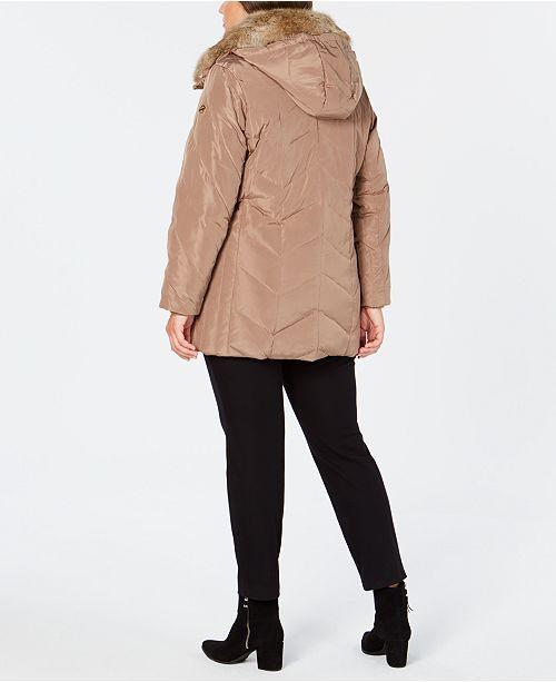 24a5f8c278a Michael Kors Plus Size Faux-Fur-Collar Down Coat   Reviews - Coats ...