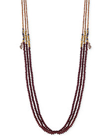 "lonna & lilly Rose Gold-Tone Beaded Multi-Strand 36"" Statement Necklace"