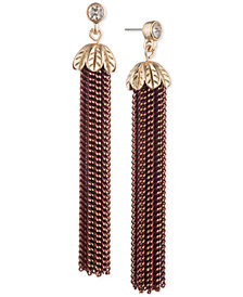 lonna & lilly Two-Tone Crystal & Chain Tassel Linear Drop Earrings