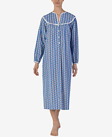 Lanz Printed Cotton Flannel Ballet-Length Nightgown