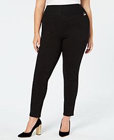 Calvin Klein Plus Size Pinstripe Skinny Compression Pants