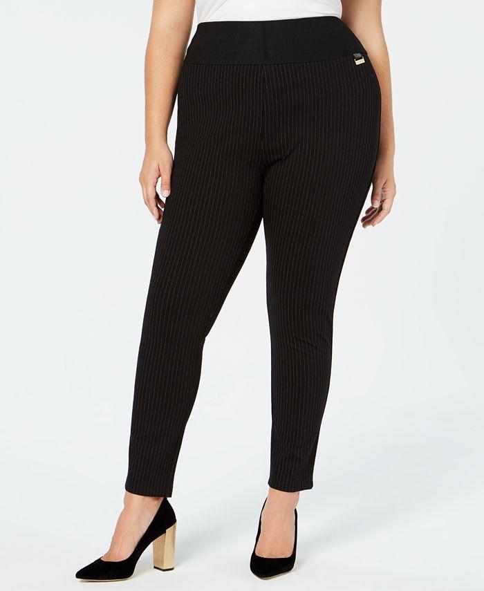 Calvin Klein - Plus Size Pinstripe Skinny Compression Pants