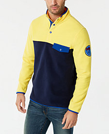 Club Room Men's Button-Pocket Colorblocked Fleece Pullover, Created for Macy's