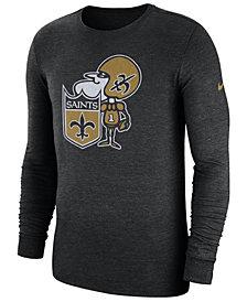 Nike Men's New Orleans Saints Historic Crackle Long Sleeve Tri-Blend T-Shirt