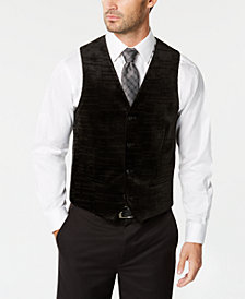 Alfani Men's Classic-Fit Textured Check Velvet Vest, Created for Macy's