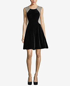 XSCAPE Velvet Embellished Fit & Flare Dress