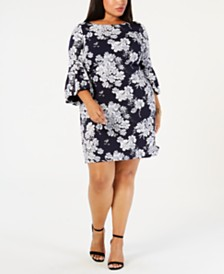 Jessica Howard Plus Size Floral Printed Bell-Sleeve Dress