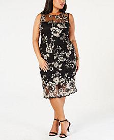 Calvin Klein Plus Size Lace Illusion Sheath Dress