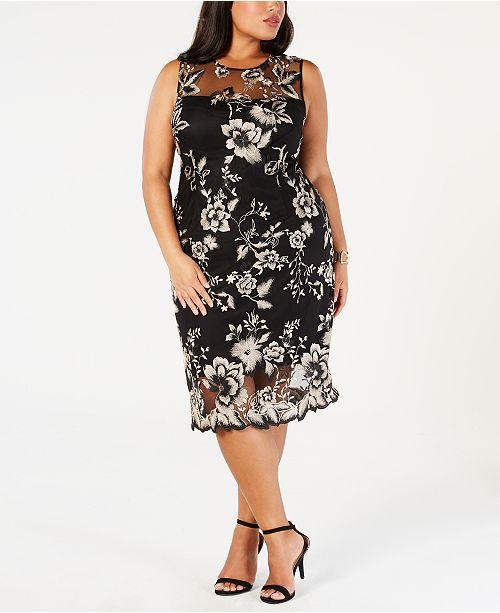 f1f6a7bb Calvin Klein Plus Size Lace Illusion Sheath Dress & Reviews ...