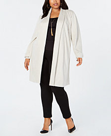 I.N.C. Plus Size Faux-Suede Cocoon Jacket, Created for Macy's