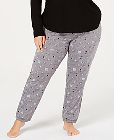 Jenni Plus Size Brushed Terry Pajama Pants, Created for Macy's