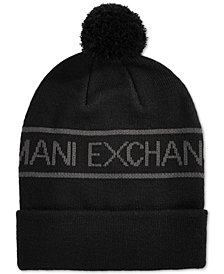 Armani Exchange Men's Pom Pom Logo Beanie
