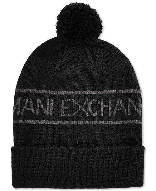 a5cfb701374 Armani Exchange Men s Pom Pom Logo Beanie - Hats