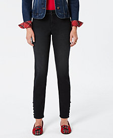 Charter Club Petite Bristol Lace-Up Tummy Control Skinny Jeans, Created for Macy's