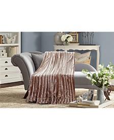 Subtle Striped Super Soft Faux Fur Blanket