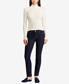 Lauren Ralph Lauren  Petite Dark Wash Modern Straight Curvy Jeans