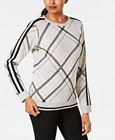 Charter Club Varsity-Stripe Plaid Sweater, Created for Macy's
