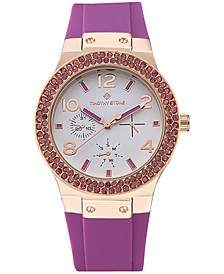 Women's 'Facon' Sporty Chic Crystal Accented Silicone Strap Watch