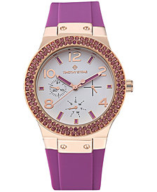 Womens Facon Sporty Chic Crystal Accented Silicone Strap Watch