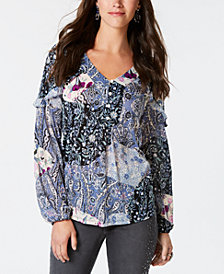 Style & Co Printed Prairie Top, Created for Macy's