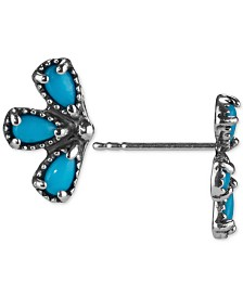 American West Turquoise Fan Stud Earrings (1-1/4 ct. t.w.) in Sterling Silver