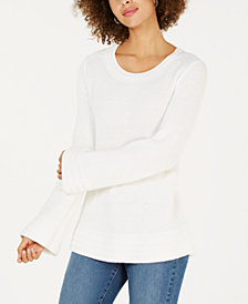 Style & Co Flare-Sleeve Contrast-Border Sweater, Created for Macy's