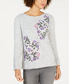 Style & Co Embroidered Fringed Textured Sweater, Created for Macy's