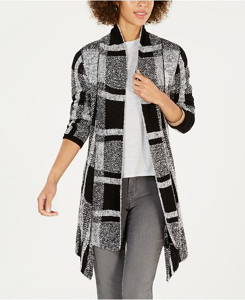 Style & Co Petite Plaid Boucle Cardigan, Created for Macy's