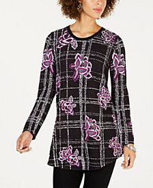 Style & Co Petite Jacquard Tunic Sweater, Created for Macy's
