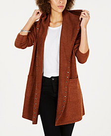 Style & Co Petite Stud-Trim Hooded Cardigan, Created for Macy's
