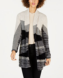 Style & Co Petite Printed Open-Front Cardigan, Created for Macy's