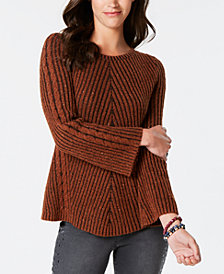 Style & Co Ribbed and Cabled Fitted Sweater, Created for Macy's
