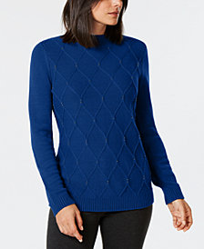 Karen Scott Petite Beaded Cable-Knit Sweater, Created for Macy's