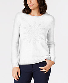 Karen Scott Embroidered Snowflake Sweater, Created for Macy's