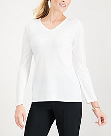 Karen Scott Pearlized-Bead Trim Sweater, Created for Macy's