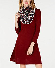 Sequin Hearts Juniors' Scarf A-Line Sweater Dress