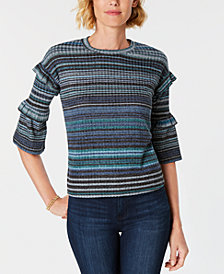 John Paul Richard Petite Ruffle-Detail Striped Sweater