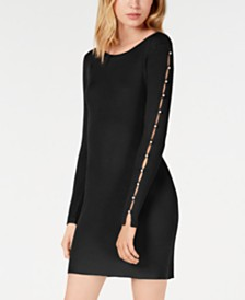 BCX Juniors' Imitation-Pearl Ribbed Bodycon Sweater Dress