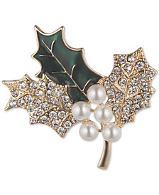 Anne Klein Gold-Tone Imitation Pearl & Crystal Holly Leaf Pin, Created for Macy's