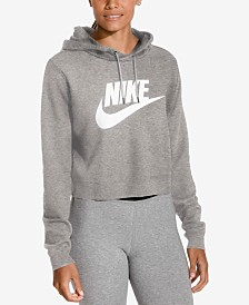 Nike Sportswear Rally Logo Cropped Fleece Hoodie